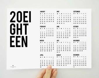 20Eighteen Printable Calendar, 2018 Calendar, Two Thousand Eighteen Calendar, Planner, Yearly Calendar, Poster, Wall Calendar, PDF Calendar