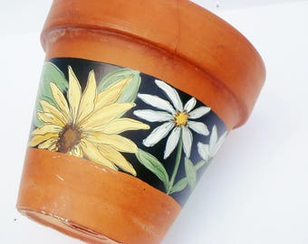 "Hand Painted Flower Pot ""Bloomed Collection"" Vintage Terracotta 5.5 Inch Planter- Ready to Ship"