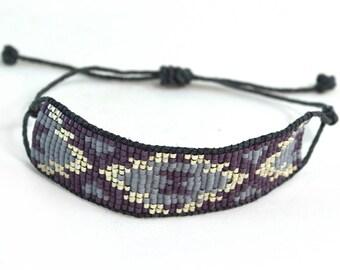 Boho Purple Jewelry - Adjustable Bracelet - Boho Jewelry - Single Wrap