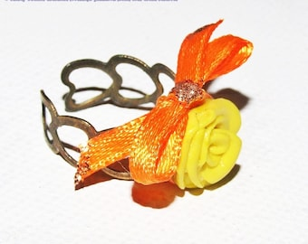 Yellow ring, vibrant fimo and satin bow, adjustable