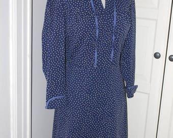 ON SALE 70s Secretary Dress, Blue, Polka Dots, Tie Neck, Size S/M