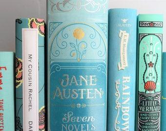 Fine Art Print - Book Photography -Aqua Shelfie  Classic Literature Book Print - Bibliophile - Bookworm