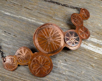 Bike Wheel Statement Necklace -  Hand Engraved Bicycling Obsessed Copper Coller Necklace : Bike7