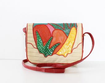 Sharif Bag • Fruit Purse • Snakeskin Purse • 80s Purse • Leather Crossbody Bag • Rainbow Purse • Leather Crossbody • Colorful Purse | B893