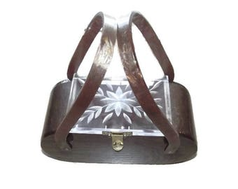 Vintage 50s Brown & Clear Lucite Purse | 1950s Lucite Box Purse | Marbleized Root Beer Sparkle | Carved Clear Top | Hard Sided MCM Handbag