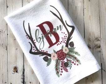 Monogram Tea Towel - Guest Bath Towel - Christmas Farmhouse Kitchen - Gift Under 20 - Hostess Gift - 15 x 25 Inches - Personalized Towel