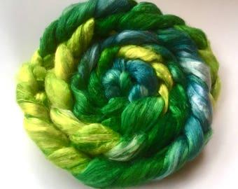 SILK ROVING (top): NILE, deep green, citronvyellow and blue tussah silk