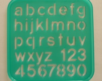 Vintage Tupperware Tuppertoys Stencil for Children (1987) Alphabet (small cap) and Numbers