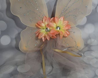 Girl's Peach Butterfly Wings, Girls Fairy Wings, Butterfly Wings, Children's Pixie Wings, Peachy Play Wings, Dress Up Wings, FW1754
