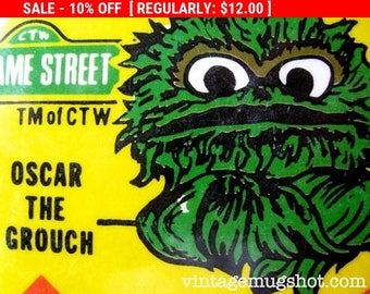 """Christmas In July SALE Sesame Street Oscar the Grouch Muppets Pinback Button 1974 Ice Follies 3 1/2"""" Pinback"""