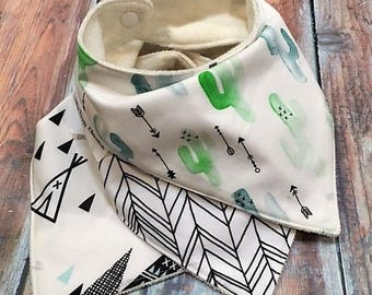 Gender Neutral bandana bib Baby bib baby shower gift Cactus Bandana Bib bib for boy bib for girl baby bib Organic Bamboo Bib  Drool Bib