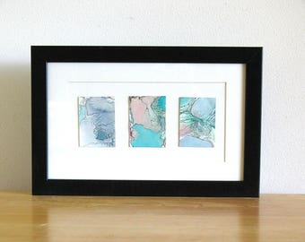 Small original framed watercolor art, pink and aqua abstract art, Austral Triptych