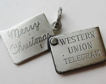 Vintage 50s Sterling Silver Merry Christmas Western Union Telegram Mechanical Bracelet Charm