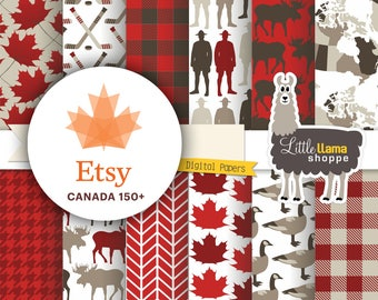 Canada Digital Paper, Canadian Scrapbook Paper Pack, Maple Leaf, Buffalo Plaid, Moose, Canada Goose, Mountie, Commercial Use