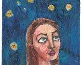 "watching the stars original 4x6"" a2n2koon  mixed media painting on watercolor paper matted & framed in 5x7"" glass clip frame woman portrait"