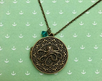 Antique Gold Octopus Locket Necklace