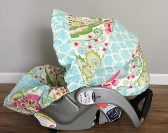 KUMARI GARDENS fabric & aqua blue MINKY dot Infant Car Seat Cover