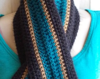 Teal, Black and Gold Crocheted Scarf - Great for Jacksonville Jaguar NFL Football Fans