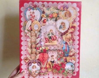 Victorian valentines Springbok 1980s decoupage collection jigsaw / 80s 500 piece random cut hallmark cards romance love puzzle
