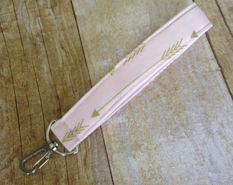 Arrow Keychain / Wrist Key fob with swivel clip / Fabric Keyfob - Pale Pink and Gold Arrow fabric