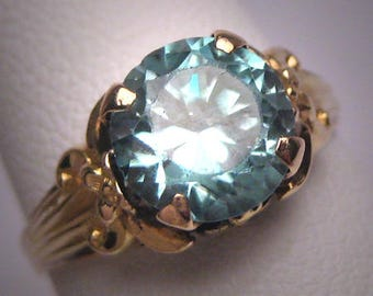 Antique Blue Zircon Wedding Ring Ostby Barton Titanic Vintage Art Deco Yellow Gold Floral c.1920