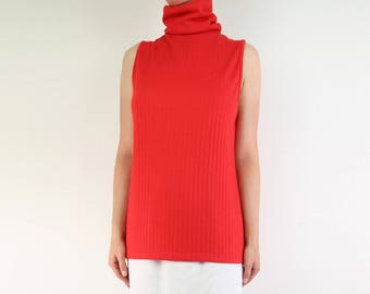 VINTAGE Sleeveless Turtleneck 1970s Red Long