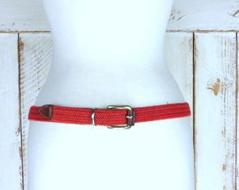Vintage red woven/braided canvas brown leather belt/brass buckle woven chord belt/medium/large
