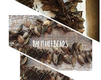SALE Repurpose Rustic vintage style patina Dangle Leaf charm Chain