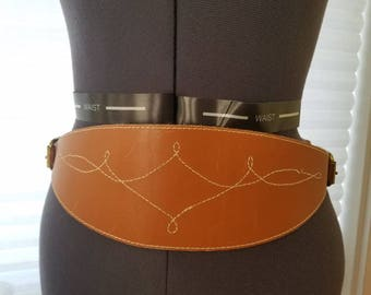 Vintage Light Brown Tan Leather Belt Buckles Accessory As Is Stitching