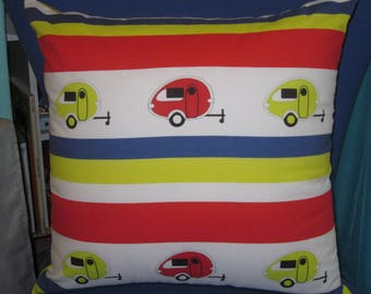 """Camping Pillow 17"""" X 17"""" Tab Teardrop Camper Trailers with STRIPES"""