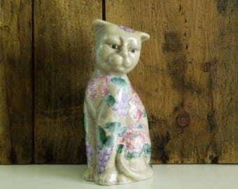 Vintage Cat Figurine / painted Macau ceramic cat