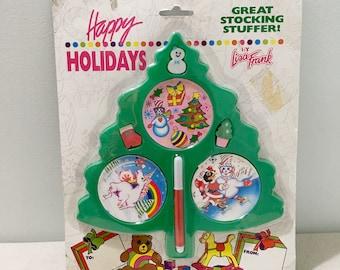 Vintage Lisa Frank Happy Holidays Christmas Sticker Set