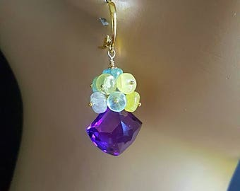 New! Fancy Cut African Amethyst with Multi Shades of Beryl, Aquamarine, Morganite and Yellow Beryl February Birthstone Gift for Her
