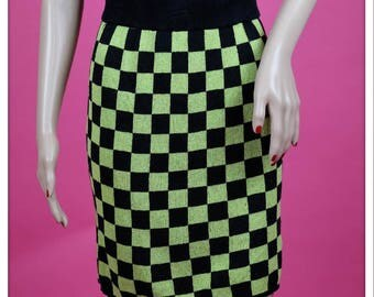 Vintage Green and Black Checkered New Wave Skirt