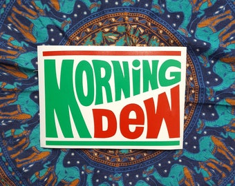Morning Dew Grateful Dead Vinyl Sticker Graphic Decal Double Overlay in Green and Red