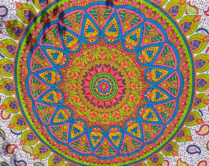 Funky Mod Mandala Tapestry Boho Hippie Tapestry Wall Hanging Beach Blanket Yoga Meditation Mat Dorm Decor Music Festival