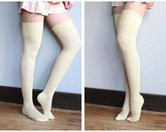 Late 20s / Early 30s Stockings // Yellow Hand Knit Stockings // vintage 20s/30s thigh high hosiery
