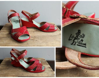 1950s Wedge Sandals // Lolo's Red Leather Sandals // vintage sandals // size 8