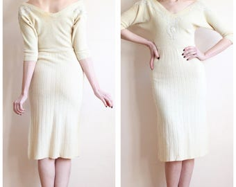 1950s Dress // Dame of Scotland Wool Knit Dress // vintage 50s dress