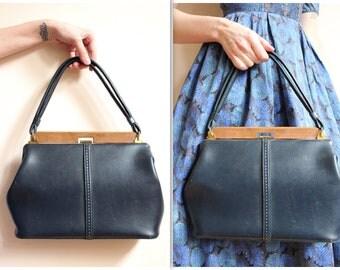 1960s Handbag // Navy Vinyl Handbag // vintage 60s purse