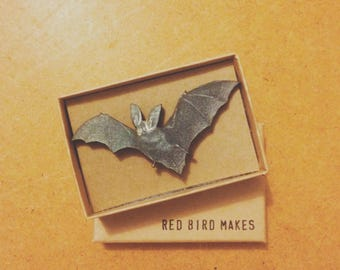 Halloween Bat Pin Brooch - Lasercut Wood