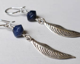 Lapis Leaf Earrings - Hill Tribe Silver - Silver Leaf Earrings - Bohomian Jewelry - Dangles - Blue Gemstones - Gifts for her - Lapis Lazuli
