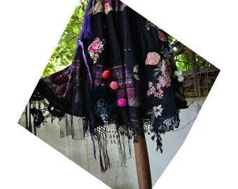 Beautiful Unique  Art to Wear Mexico Spain Black L Skirt FRIDA Antique Tribal Textiles  Laces Silk Velvet  Fairy Boho Gipsy Tattered