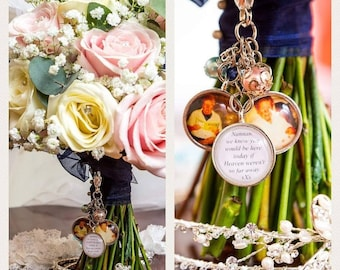Bouquet Wedding Charm Remembrance Wedding Clip Charm Personalised Glass Tile for the Big Day to hang on your Wedding Flower Bouquet