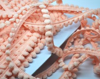 PEACHY PINK 6 yards Baby pom pom fringe - sewing - papercraft - diy - party garland - clothing trim - baby pom - blanket trim