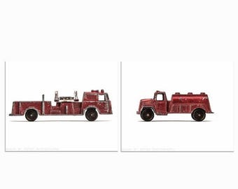 FLASH SALE til MIDNIGHT Vintage Toy Fireman Watering Truck and Fire Engine Set of Two Photo Prints, Fireman, Boys Room decor, As Seen in Pot