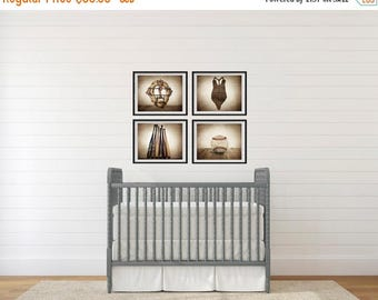 WEEKEND SALE Set of Four Baseball Photo Prints, Vintage Baseball Nursery Decor, Baseball Wall art, Baseball prints