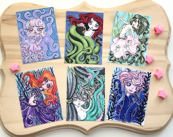 ACEO Art Print - Octopus Mermaid Ursula, sketch card artist trading card, fantasy kawaii anime