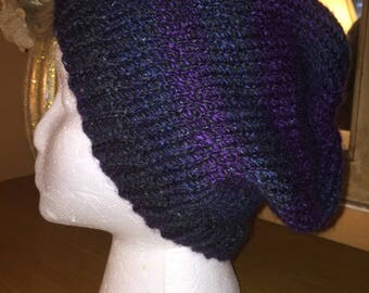 Purple and blue slouchy hat