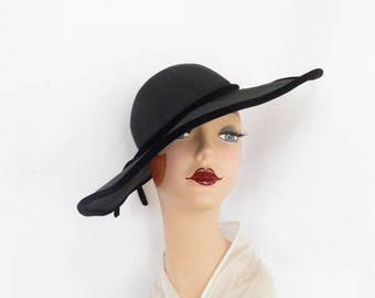 Woman's 1950s black hat, vintage wide brim, 1940s